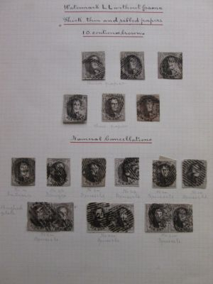 BELGIUM - SPECIALIST 19TH CENTURY SELECTION of roughly 150 imperf stamps from the 1850s and 60s with very meticulous annotations by a very dedicated collector including better like #6 (six pairs), 7 (strip of three), 8 (8), 9 (3), 10 (three pairs), 11 (th