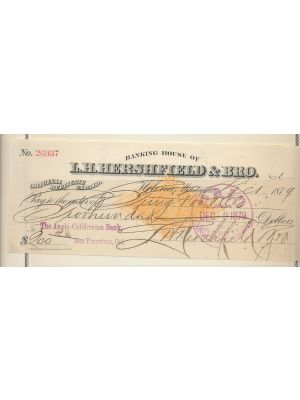 (RN-G1), Montana Territory, 1879 check on the Banking House of L. H. Hershfield & Bro. of Helena, Montana. Gen. VERY FINE