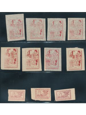 NORTH VIET NAM - LOCALS - Two different local issues from North Viet Nam, likely during the 1960's, arranged on a stock page. Some are singles, a few are in blocks of four. Gen. VERY FINE-EXTREMELY FINE, ungummed as issued