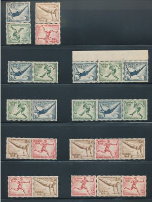 (B82/B86, Michel #SK27/W110) Complete mint and used sets of zusammendrucke for the 1936 Olympics issues, on a stock page. Both sets are complete. Gen. VERY FINE, mint og, a few are NH (MI €369.40)