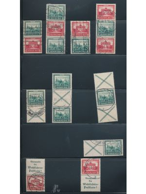 (B34-B35, Michel #S76/WZ4) Collection of used position pieces from the 1930 International Philatelic Exhibition issue, on a stock page. Included are (Michel) #S76-79, S80-81, S82, S84, S86, W37, WZ2-3, and more. Gen. VERY FINE (MI €3715)