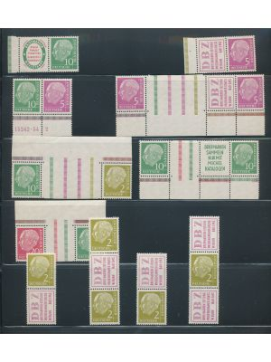 (702/710, Michel #W4/RL2) Study of the position pieces of the Heuss issues from 1955, arranged on stock pages. Noted are better like (Michel) mint HBl#3-5 (NH), WZ5-8 (NH), S13-16 (NH), S21-24 (NH), RL1 (5, could also be used as S29-32), used #WZ6-7, S16,