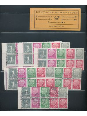 (W17X/WZ16bYII) Study of the 1958/1960 Heuss issues, arranged on stock pages. Included is a full mint set of (Michel) #W17X/S52X, along with some YII issues, an unexploded booklet, examples of booklet panes and more. Gen. VERY FINE, mint og, some NH  (MI