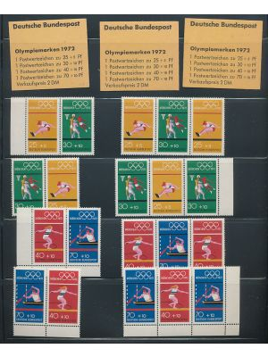 (B485-B488, Michel #W30/SZ2b) Complete mint and often CTO collection of position pieces for the 1972 Olympics Semi-postals on stock pages. Included, as well, are three unexploded booklets. Gen. VERY FINE, mint og, NH (MI €331)
