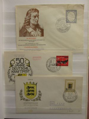 GERMANY-FDC's - Group of 42 cacheted, often unaddressed First Day Covers from 1955 to 1958, in a stock book. Better noted include (Michel valued) #727 (€38), 728 (€36), 731 (€30), 735 (€22), 736 (€36), 737 (€70), 739 (€3