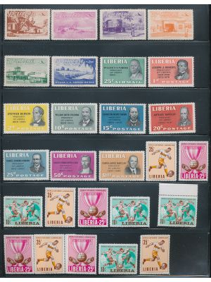 LIBERIA - MINT SELECTION OF THOUSANDS OF COMPLETE SETS with many souvenir sheets, blocks and more.  (we scanned a small sample to give an idea). VERY FINE, og, NH