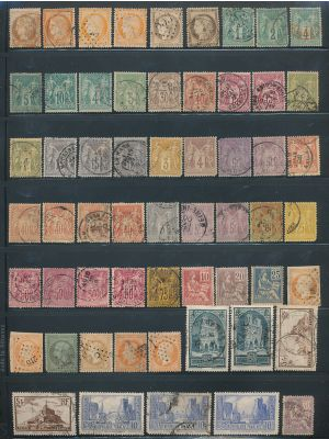 FRANCE - HIGH QUALITY SELECTION OF SEVERAL THOUSAND different stamps stored and organized neatly within individually Scott numbered dealer's stock cards. The selection features wonderful 19th and early 20th century material, followed by strong coverage to