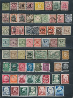 GERMANY & STATES - HIGH QUALITY SELECTION stored and organized neatly on individually Scott numbered dealer's stock cards, with light duplication throughout. The selection begins with a few nice 19th century state issues, followed by good German Empire, T