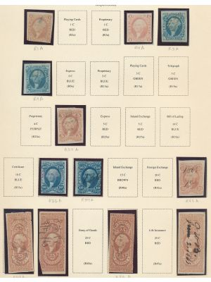 HIGH QUALITY REVENUE COLLECTION stored on Scott album pages. This extensive specialized collection of first issue stamps is loaded with many of the best revenues. With virtually no duplication or cut cancels this very desirable group is packed with better
