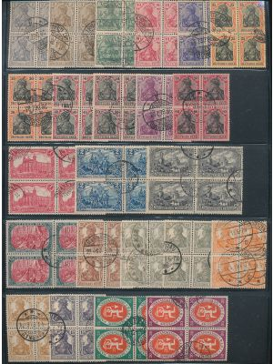 GERMAN - USED BLOCK COLLECTION with better including #80-95, 118-132, 137-155, 161-184 (missing 181), 185-192, 238A-240A, 241-278 (missing 242A), 280-299, 301-309, 310-316, 319-321, C8-C14, C15-C19, O40, O41, O42, and more. F-VF