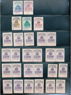 CANADA - REVENUES - SASKATCHEWAN ELECTRICAL INSPECTION STAMPS - Unusual group of issues from 1929 to 1947, on stock pages. Included are better like mint (van Dam) #SE27 (26 singles, 7 pairs, 4 blocks of four, nearly all NH), SE27a (2), SE28-30, used #SE10