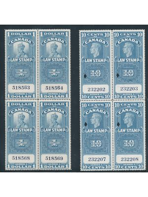 (van Dam #FSC18, FSC21, FSC21a), blocks of 4, #FSC21 punch cancel, EXTREMELY FINE, #FSC18 & #FSC21a og, NH, (van Dam C$286)
