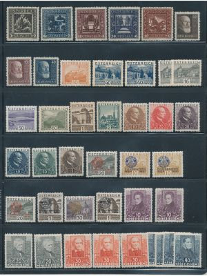 AUSTRIA - HIGH QUALITY, HIGHLY COMPREHENSIVE SELECTION OF THOUSANDS, ALL MINT and virtually all NH. The selection is neatly stored and organized in Michel numbered glassines. The selection is highly complete from the turn of the century through to about 1