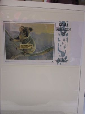"""AUSTRALIA - KOALA RESEARCH  Complete collection of Koala Research souvenir sheets, from 1986 to 1997, on stock pages. Included are several marked """"Specimen"""", a few with artist's signature, and the Phone Card Combo for 1994 & 1995. Gen. EXTREMELY FINE, og,"""