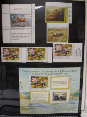 AUSTRALIA - DUCKS  Nearly complete collection of Duck stamps, going to 1997, displayed on stock pages. Noted is the 1991 $8 overprint, the 1992-93 Souvenir Sheet, a couple of Specimens, some covers, often with the artist's signature, and more. Gen. VERY F