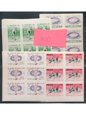 LIBERIA  - SPECIALIST DEALER'S SELECTION - An expansive selection of hundreds of imperf pairs, strips, and blocks commemorating 1956 Olympic Games essentially covering every conceivable combination to satisfy specialist collectors. The selection is duplic