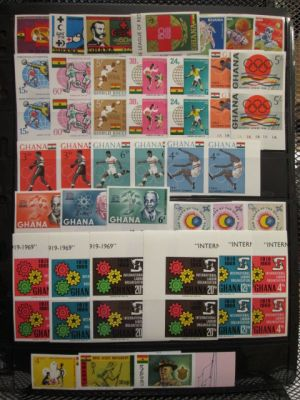 GHANA - SPECIALIST SELECTION - Very attractive selection of some 800 imperf stamps mostly from the 1960s. The selection contains practically every conceivable combination as one encounters complete sets in pairs, strips, and blocks. Dominant themes would