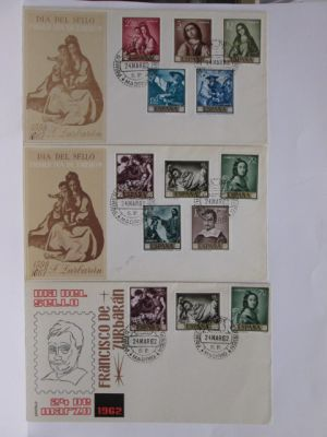 SPAIN -  An extensive group of close to 300 First Day Covers covering the period stretching several decades, but focused primarily upon the middle of the 20th century. Very nice with some beautiful caches that should appeal to enthusiasts of Spanish phila