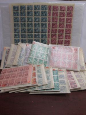 ALBANIA - DEALER'S LOT - An expansive lot of thousands of stamps primarily from the 1960s organized by issue housed in glassines. The selection essentially represent a group of stamps from the 1960s in large blocks or even complete sheets of 50, in total