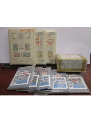 SOMALIA - DEALER'S SELECTION Very nice dealer's lot containing well over 1,000 souvenir and miniature sheets from 1960s and 70s with total catalog value adding to over $32,000! All the issues are very neatly organized and contained in Scott numbered glass