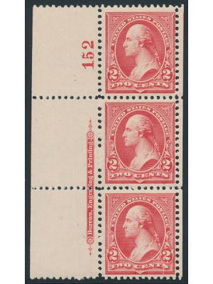 (252), imprint & plate # strip of 3, VERY FINE, og, NH