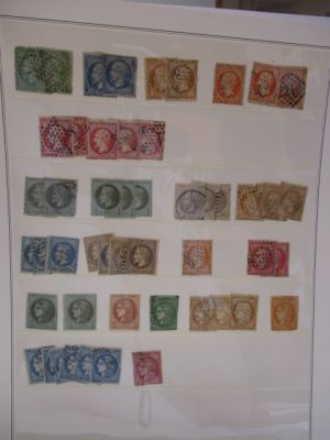 FRANCE - Stock selection of early issues, arranged on stock pages. Included are used #3 (5), 6 (11), 7, 9 (2), 11 (2), 12 (2), 13 (4), 19 (4), 20 (3), 28 (5), 31 (3), 41, 42 (3), 48, 52 (2), and others. Gen F-VF, some better