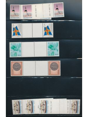 FINLAND-ALAND - Mainly mint grouping of gutter pairs, souvenir sheets and more, running between 1987 and 1998, on stock pages. Included are better like #31-33 (3), 67a, 129, and others. Gen. VERY FINE, mint og, NH