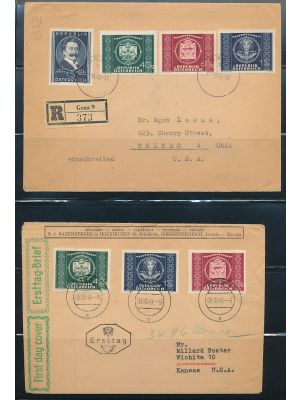 (565-567), interesting study of items surrounding the 1949 UPU Anniversary issues. Included are two covers bearing the set, one of which is a First Day Cover, three examples of the air letter using all three issues printed on the front (one is used), two