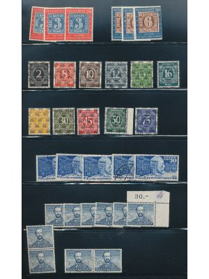 GERMANY - Interesting group of better sets and singles, displayed on stock pages. Noted are mint #593, 667-68 (3 NH), 702-21 (NH), B55a, B57, B145 (NH), B292-93 (imperf, NH), B310-13 (NH), B316-17 (2, one NH), B320-23 (NH), C61-64 (NH blocks of four), use