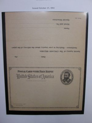 MASSIVE POSTAL STATIONERY COLLECTION An attractive collection of close to 1,000 postal cards and other articles of postal stationery housed in two large cartons. The collection is a very comprehensive representation of US postal stationery with prepaid po