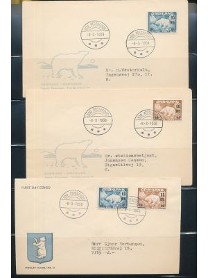 (39-40), First Day Covers, with a set on one cover, and four additional covers, two bearing a single and two bearing a block of four (total-five covers). EXTREMELY FINE, cacheted, addressed (Facit SEK 5466)