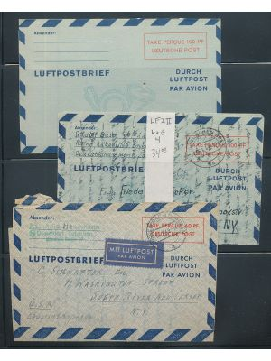 GERMANY - Group of Air Letters from the 1950s, arranged on stock pages. Noted are (Michel) unused #LF2II, used #LF2II, LF4, LF4F, LF6a-6b, and LF7a. Also included are examples for Berlin with (Michel) unused #LF5, used #LF2bIII, LF3, & LF4 (2). Gen. VERY
