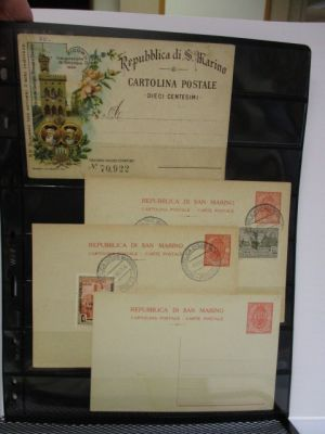 SAN MARINO-POSTAL CARDS - Group of 25 items, on stock pages. Included are (Filagrano) unused #C1, C2, C3, C6A, C14 (2), C15, V1-9 (proofs), used #C3 (2), and others. Gen. VERY FINE  (Filagrano €479)
