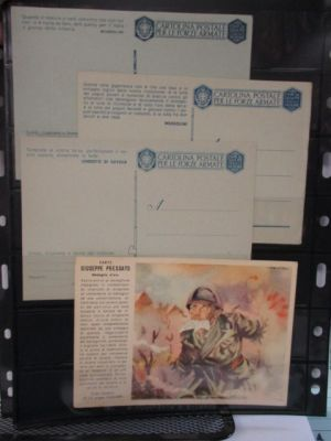 ITALY-MILITARY POSTAL CARDS - Interesting array of mostly unused Military postal cards from WWI and WWII. Included are better like (Filagrano) #F14F13, F14F16, F28, varied #F31s, F40-4, and more. Also noted are some propaganda ppcs. Gen. VERY FINE  (we sc