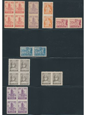 FIUME - Small group of mint imperf between pairs, arranged on a stock page. Included are varieties of #27, 28, 30a, 31, 36 & 38, which translate to Sassone #A41g, A35g (2), A36g, A43f, B45g, C33h (3) & C36i (2). Gen. VERY FINE, og, some NH  (Sassone &euro