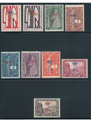 """(B69-B77), with """"Crown & L"""" overprint, VERY FINE, og, (2 high values with PF Certs)"""