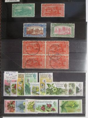 MAINLY PREMIUM INTERNATIONAL SELECTION, stored on Scott numbered stock cards and in glassines. The selection includes highlights like mint New Zealand #122-125, and used #123 (block of 4), mint Falkland Islands #4, 28, 54-60, 71, 72, 121-127, 128-142, 166