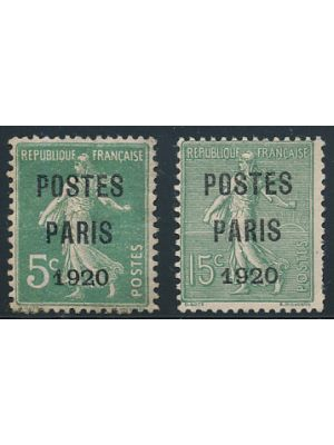 "(139 & 159), Precancels with ""POSTES PARIS 1920"" overprints (Maury #25-26), F-VF, og (Maury €745)"