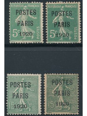 "(139 & 159) Precancels with ""POSTES PARIS 1920"" overprints (Maury #25-26), two of each, F-VF, no gum (Maury €630)"