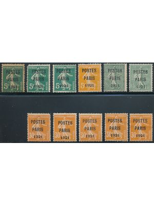 "(139, 159-160 & 170), Precancels with ""POSTES PARIS 1921"" overprints (Maury #27-30), some in quantity, F-VF, no gum (Maury €1315)"