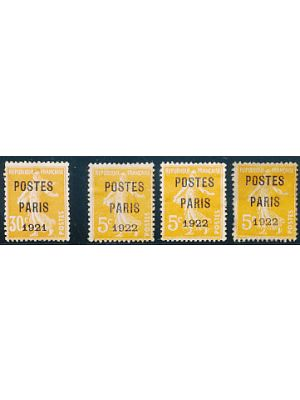 "(160 & 170), Precancels with ""POSTES PARIS"" overprints for both 1921 and 1922  (Maury #30 & 37), F-VF, og (Maury €1070)"