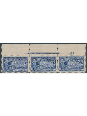 (E6), imprint & plate # strip of 3, VERY FINE, og - 404590