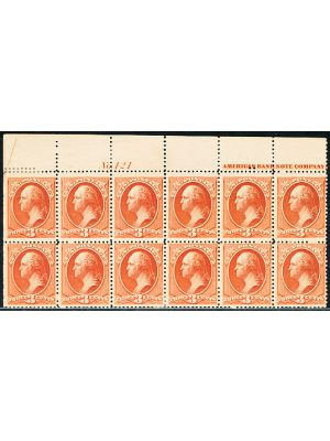 (214), Top Plate # Block of 12 with separation, VERY FINE, og, 8 stamps NH, PF Cert - 405700