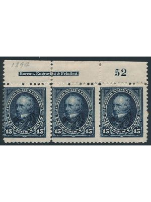 (259), Imprint & Plate # Strip of 3, F-VF, og, right stamp NH - 406347