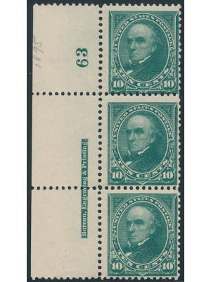 (258), Plate # Strip of 3, F-VF, og, middle stamp NH - 406349