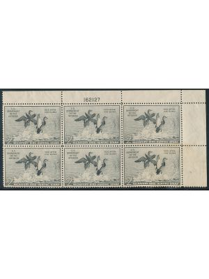 (RW18), plate block of six, gum disturbances, VERY FINE, og - 407153