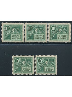 (E7), five examples, all are VERY FINE, og, NH- 407205