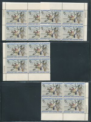 "(RW41-RW43) plate blocks, ""four corners"", EXTREMELY FINE, og, NH - 407210"
