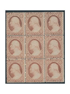 (26), block of nine, 1 row separated, VERY FINE, og, NH - 408455