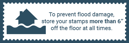 Water can damage your stamp collection